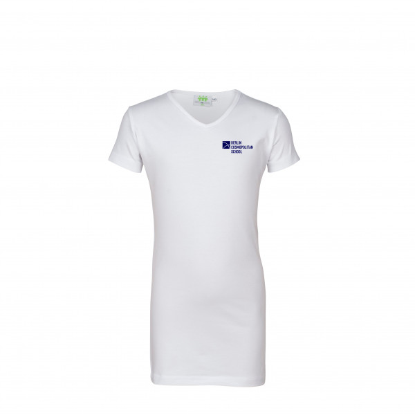 T-Shirt, short sleeves, v-neck, long version,Girls
